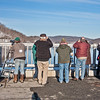 BAS Eagle Viewing Station on New Croton Dam -Teatown Eagle Fest, February 10, 2013 - Tai Johansson peering through spotting scope on left side of photo
