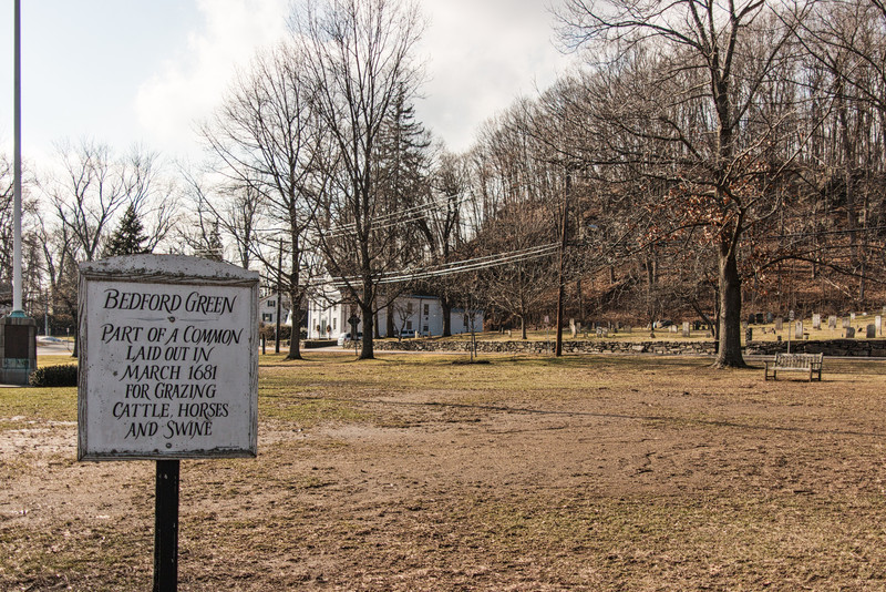 Bedford Village Green, Historic Hall and Burial Ground,  into the sun with Voigtlander 20mm f/3.5 pancake