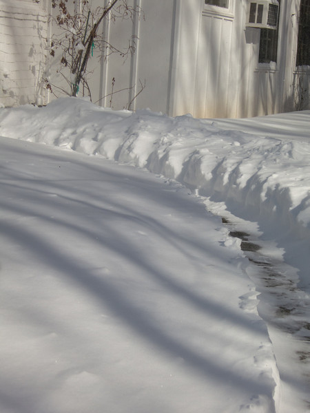 Back sidwalk day after blizzard