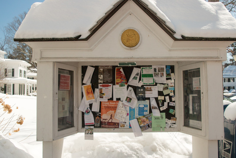 Bedford Village Bulletin Board in front of post office