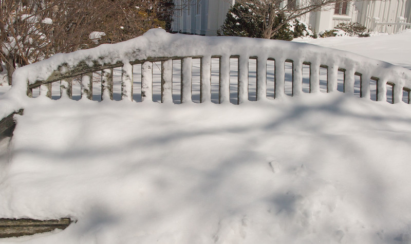 Bench in front of Bedford Village post office March 6, 2015