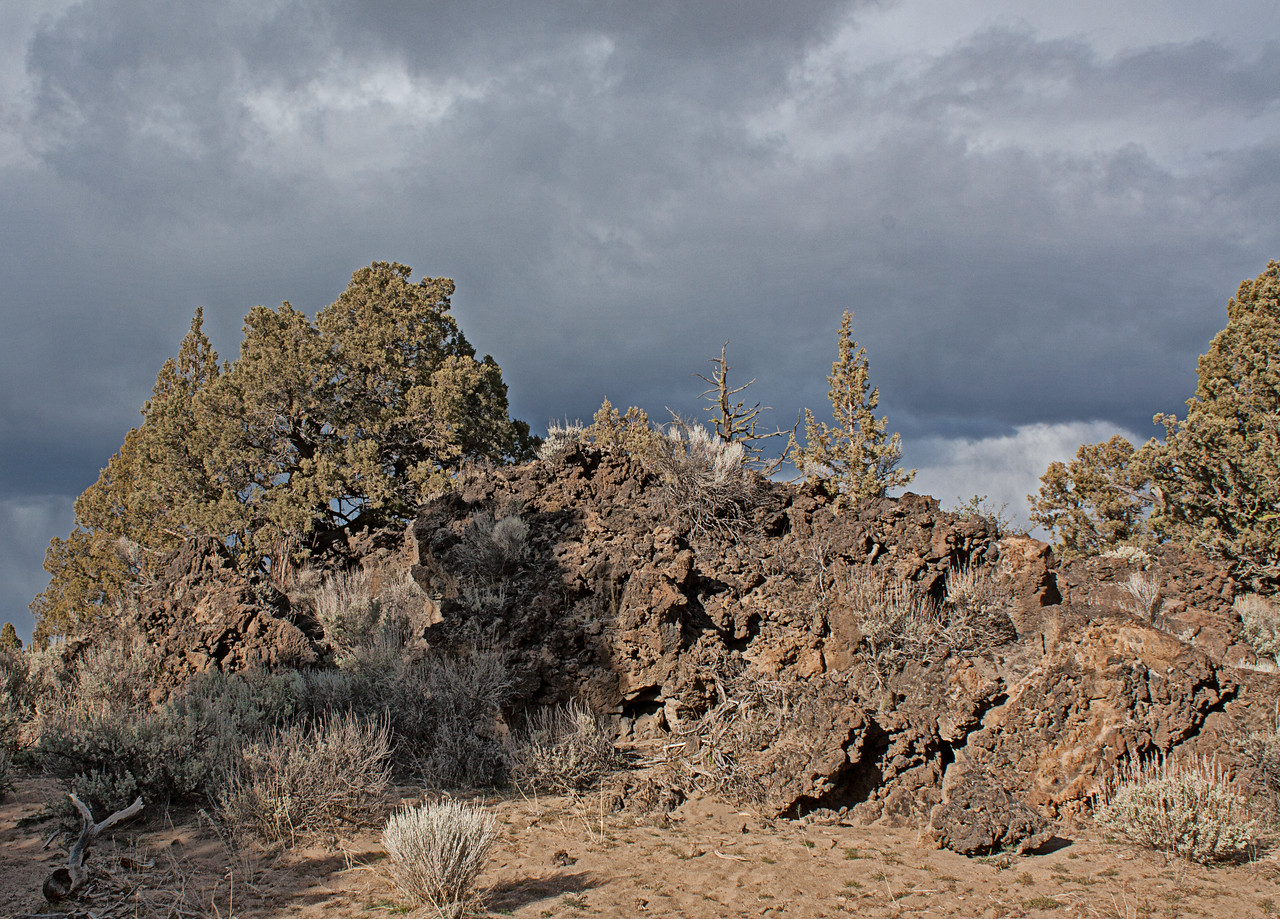 Ancient lava flow in the Badlands Wilderness Nature Study Area, Bend, Oregon