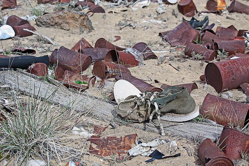 Old trash dump in the Badlands Wilderness Nature Study Area, Bend, Oregon