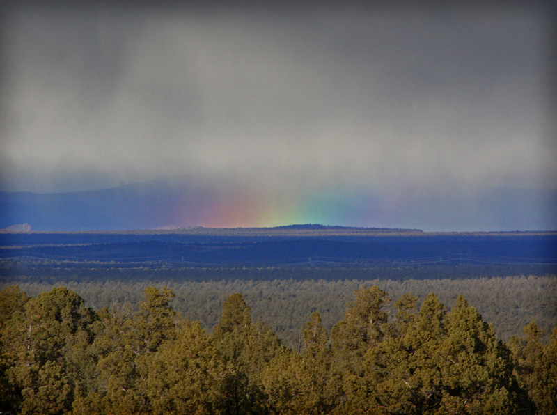 The rainbow across the valley in the Badlands Wilderness Nature Study Area, Bend, Oregon