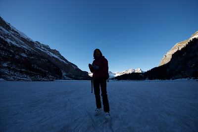 frozen Oeschinensee, winter, ice, lake