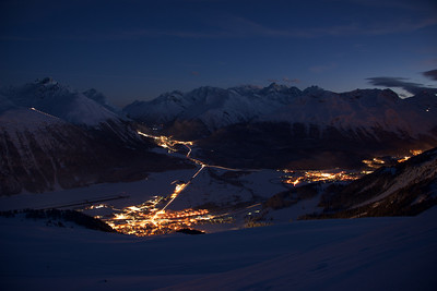Samedan, Celerina and Pontresina at night