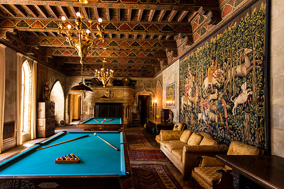 The 'game room' at Hearst Castle.  Not only room for a full size pool table and also a 'Carom Billiards' table with no pockets.  The ceiling in this room, as with all rooms in the castle, was covered with detail.  Photography here is a bit of a challenge as you only have a minute or less to get a shot with no people in the room under low lighting conditions.  No flashes were allowed, like most art museums, and I got the feeling tripods were frowned upon as well.