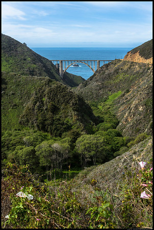 Eastern side of the Bixby Bridge.  The fun part about the road back here is the sign that says 'Impassable when Wet'.