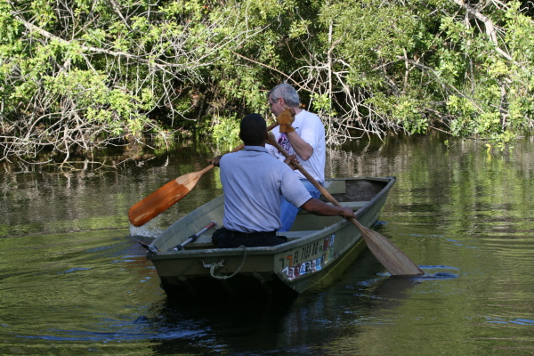 Animal control officer Brian Figueroa and my neighbor Jack had to take a boat across the pond to get to the bird.