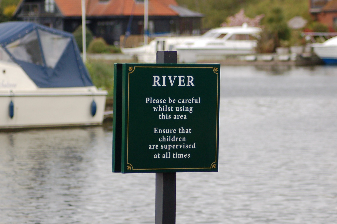 River careful sign Norfolk May 2010