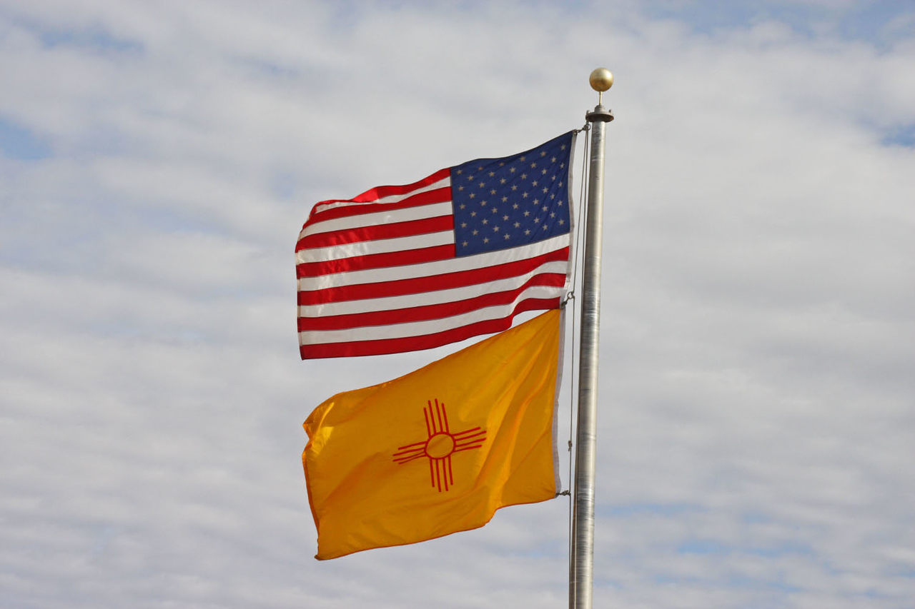 American & New Mexico Flags