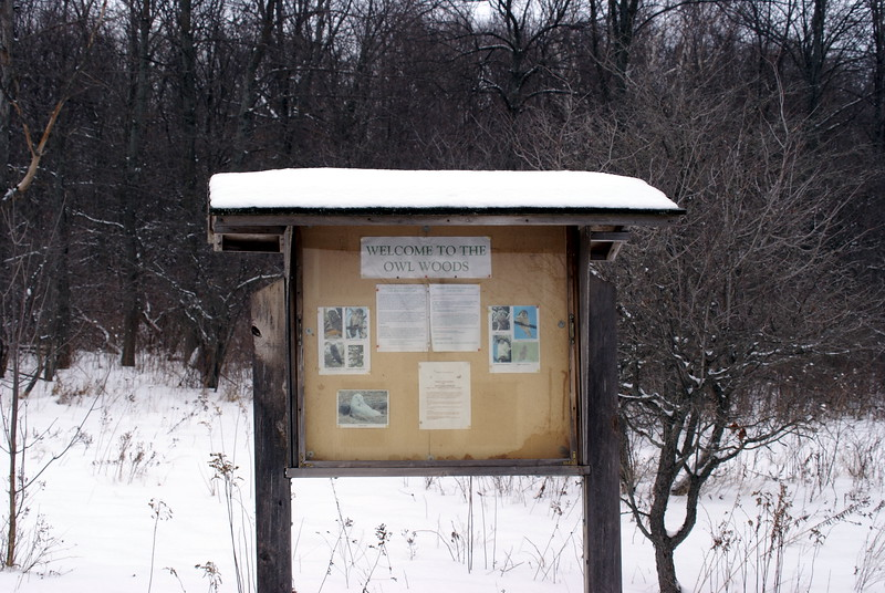 Entrance sign to the famous Owl Woods.