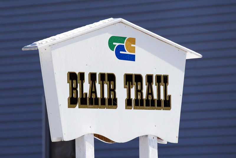 Signpost for the entrance to the Blair Trail.