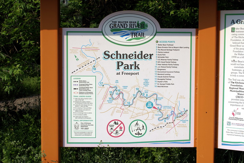 Entrance signage for Shneider Park and the Grand River Trail.