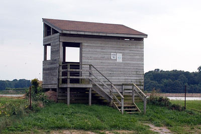 One of the two viewing blinds for the lagoons. No access is permitted to walk along the berms bordering the cells.