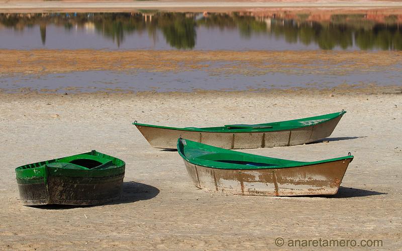 Barcas en laguna en época estival