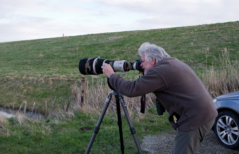 My partner in crime for the day - Luc in action to capture some barnacle geese