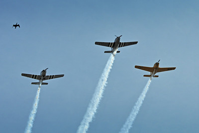 WWII warplanes and cormorant do a flyover during USS Silversides memorial ceremony