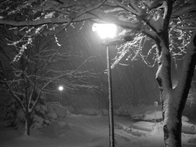 the sinister blizzard attacks at night, burying the area