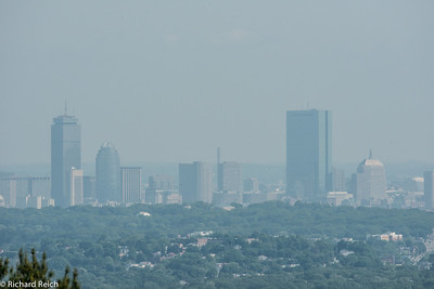 Downtown Boston, hazy day, maybe 15 miles away - 550 mm lens (400mm w 1.4x teleconverter)
