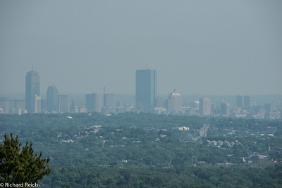 Downtown Boston, hazy day, maybe 15 miles away - 400mm lens