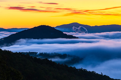Blue Ridge Parkway Dawn and Clouds