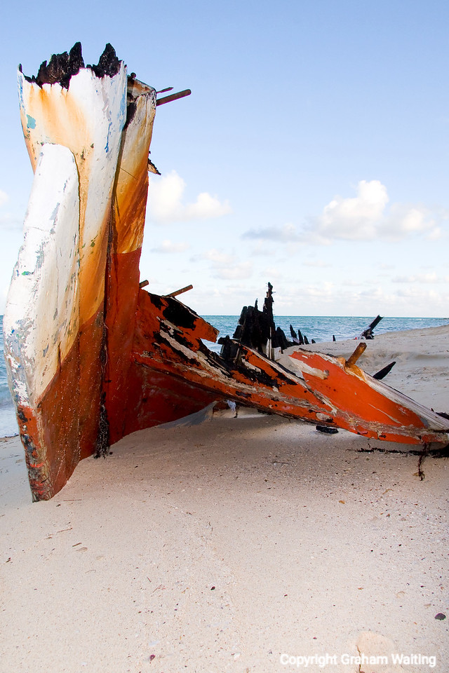 Remains of destroyed boat on beach on New Providence Island, Bahama