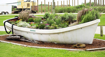 Lifeboat converted into a flower bed