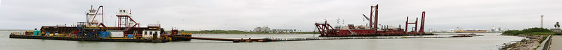 Panorama view of dredging operation at Surfside