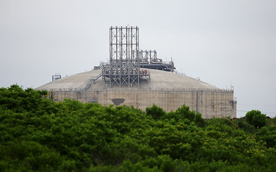 Next day we're off down Quintana Road to look for birds.  This is an LNG train under construction.