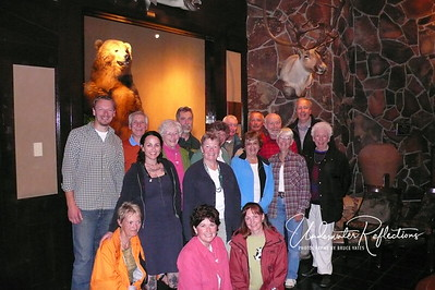 This is our entire TravelWild tour group (a great group of people!).  The brown bear behind us gives you an idea just how big the bears in these photos (at least the big males) really were/are!