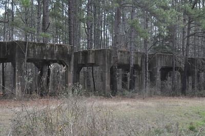 Foundations that originally held huge silos of acid used in the manufacture of Army Munitions