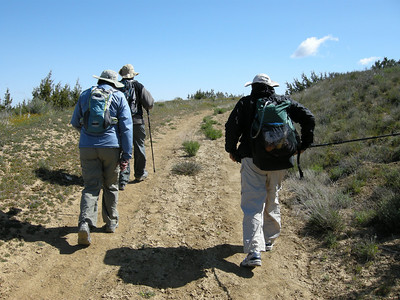 Left to right: Karen, Tom, Sam. Sam's pack looks quite compact; we would discover the reason why a bit later in the hike…