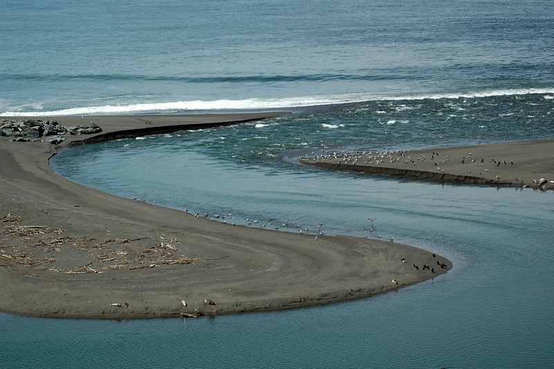 Russian River entering the Pacific Ocean