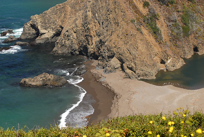 © Joseph Dougherty.  All rights reserved.   California coast with hidden beach and rocky cliffs.