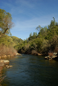 © Joseph Dougherty.  All rights reserved.   Lower Mokelumne River in the Sierra foothills. A calm day with low flow.
