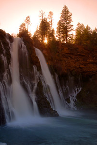 © Joseph Dougherty. All rights reserved.   Sunset at McArthur-Burney Falls Memorial State Park.