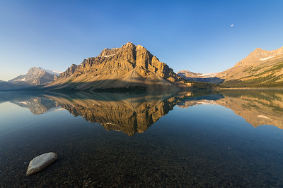 Moon and Sun at Bow Lake