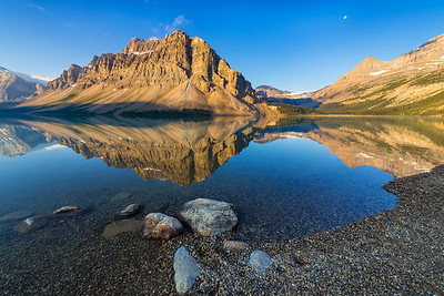 Bow Lake with a Morning Moon