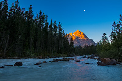 Mt Stephen and Kicking Horse River Moon Set
