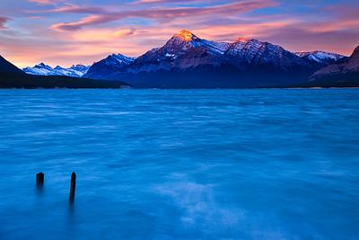 Abraham Lake and Sun Kissed Mountains