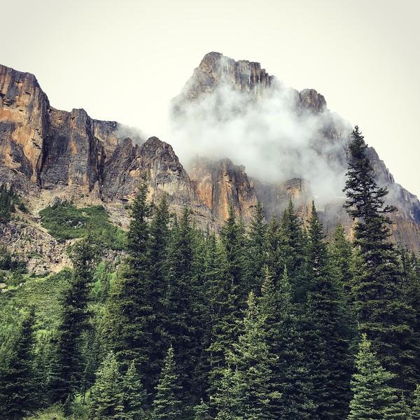 Foggy Castle Mountain, Banff National Park