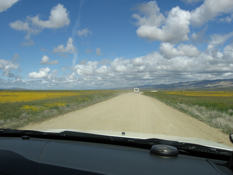 Driving northwest along Soda Lake road, entering Carizzo Plain National Monument from the south. The cumulus clouds on this day were just perfect for seeing the curvature of the Earth.