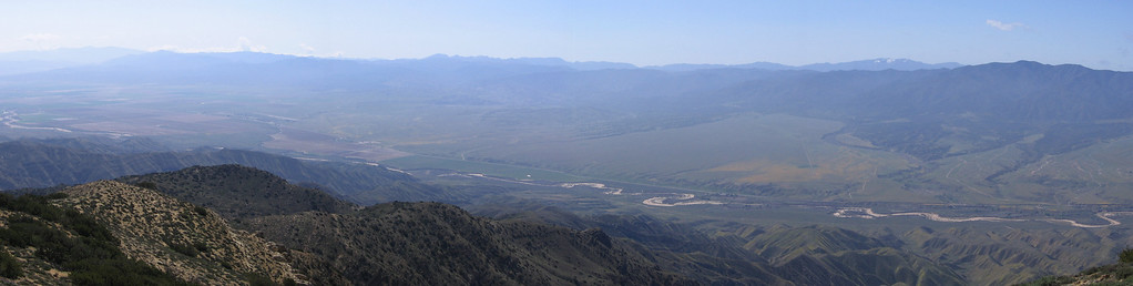 Panorama of New Cuyama Valley to the southwest of Caliente Peak, taken from just southeast of the old observation cabin on top of the peak.