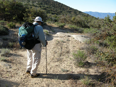 Next morning, and back on the trail. Overnight the winds died, and it got down to about 44 degrees F.
