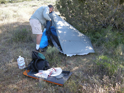 We found a nice sheltered alcove among some junipers for our camp. It had been a bit breezy, up to 15 mph at times.