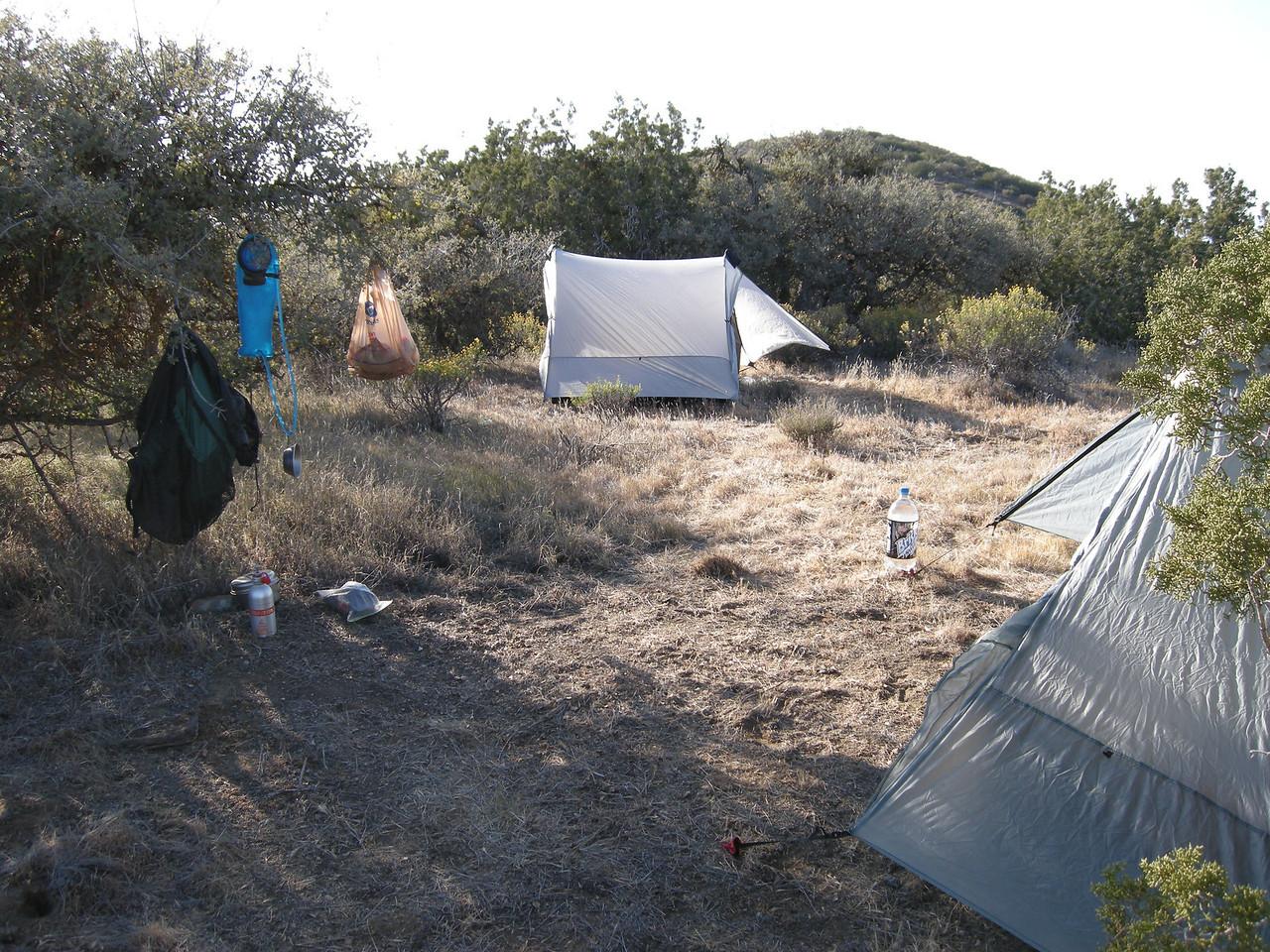 A dry but pleasant campsite atop the ridge.