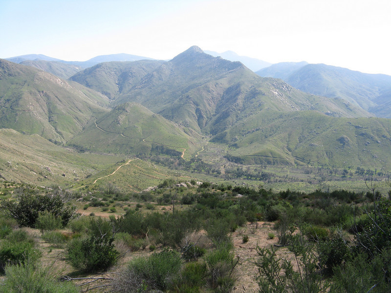 View from the trailhead down to the San Diego River Valley and Cedar Creek. Eagle Peak is the small peak in the background.
