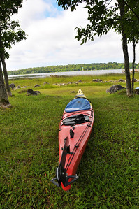 View for our campsite. Looking out on Cedarville Channel. La Salle Island in the background.