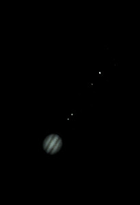 Jupiter and moons Io, Ganymede,  Europa and Callisto